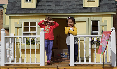 Preschoolers on Playhouse Front Porch