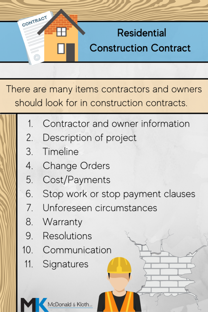 Basics included in a residential construction contract
