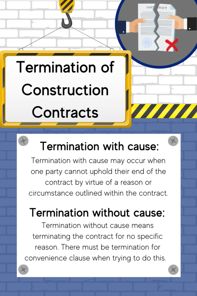Termination of a contract may include with or without cause