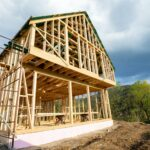 Residential home construction, frame wooden house outdoor