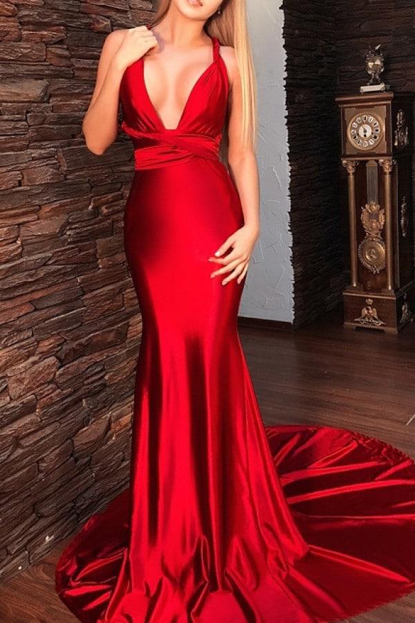Beautiful blonde wearing a satin red dress