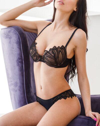 Escort Ashley on black panties and bra