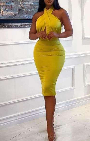 Sexy ebony escort Kisha in a yellow classy dress