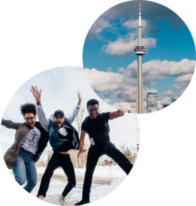 Scope Academics - CN Tower and Students Jumping Collage