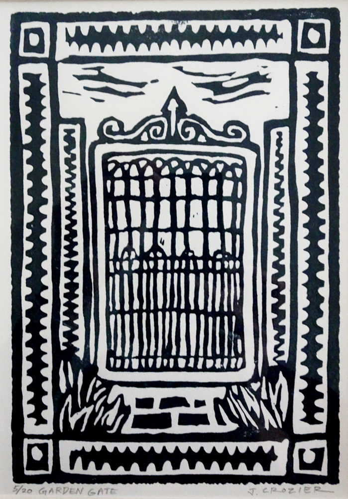 "<p style=""font-size: 16px; line-height: 150%;""><strong><em>Garden Gate&emsp;<br /> </em></strong>lino cut&emsp;<br /> 9&rdquo; x 11&rdquo; 