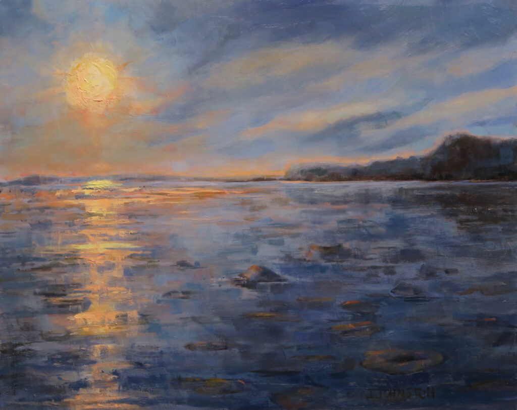 """<p style=""""font-size: 16px; line-height: 150%;""""><em><strong>Sunset on the River&emsp;<br> </strong></em>Oil  / 20&rdquo; x 24&rdquo; / Framed&emsp;<br> <strong>SOLD</strong></p>"""