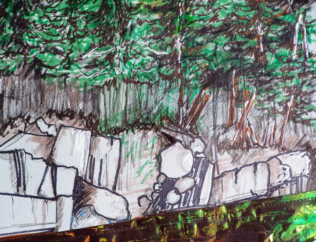 "<p style=""font-size: 16px; line-height: 150%;""><strong><em>Gorge of the St. Croix</em></strong>&emsp;<br> Mixed Media</p>"