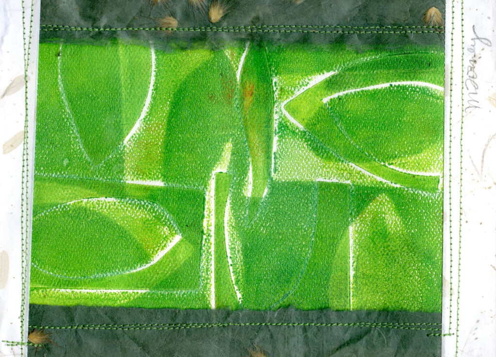 "<p style=""font-size: 16px; line-height: 150%;""><strong><em>Green Leaves</em></strong>&emsp;<br> Monoprint with collage added</p>"