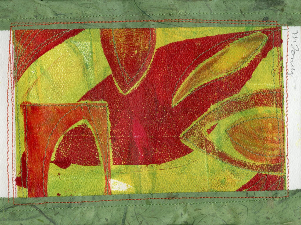 "<p style=""font-size: 16px; line-height: 150%;""><strong><em>Leaves with Red and Green</em></strong>&emsp;<br> Monoprint with collage added</p>"