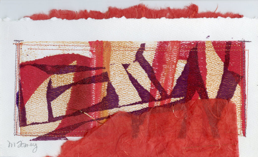 "<p style=""font-size: 16px; line-height: 150%;""><strong><em>Leaves with Red and Purple</em></strong>&emsp;<br> Monoprint with collage added</p>"