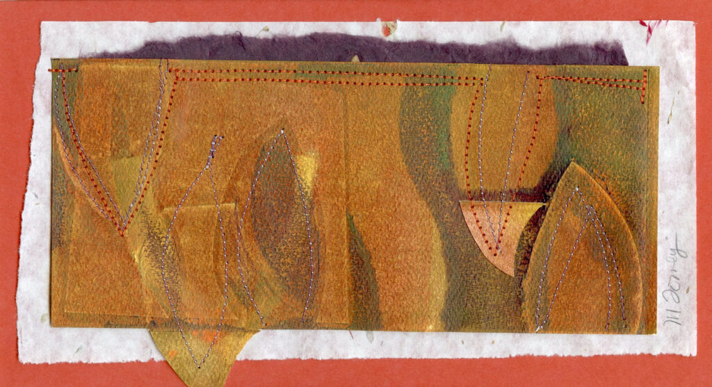 "<p style=""font-size: 16px; line-height: 150%;""><strong><em>Leaves with Rust and Brown</em></strong>&emsp;<br> Monoprint with collage added </p>"