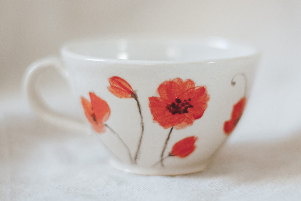 "<p style=""font-size: 16px; line-height: 150%;""><strong>Tiny Poppy Espresso Mug</strong>&emsp;<br /> 4 oz.<br />  <strong>$45</strong></p>"