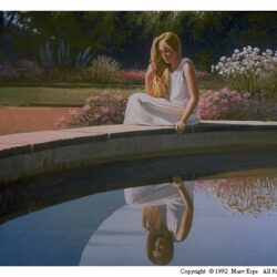 Reflections is a 26 x 36 inches original acrylics figurative painting © 1992 Marv Espe of a girl, seated by a pool of water.