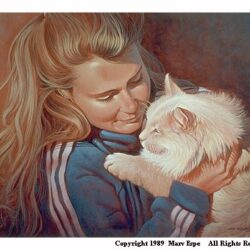 Heidi and Fi Fi is an original 18 x 24 inches acrylics figure painting © 1989 Marv Espe. Beautiful blonde woman holding a white cat.