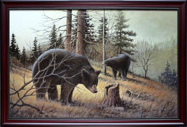 Ambling About is an original 18 x 28 inches acrylics wild life painting © 2015 Marv Espe. Two black bears in the forest. Framed.