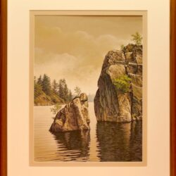 Chip off the Old Block is an original 15.5 x 11.5 inches mixed media landscape painting © 2015 Marv Espe. Rocky shore of a lake. Framed.