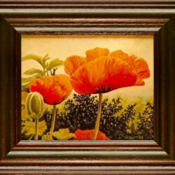 Portly Poppies is an original 8 x 10 inches acrylics still life painting © 2015 Marv Espe. Red poppy blossoms. Framed.