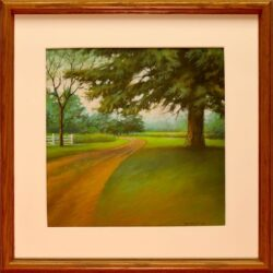 Prodigious Pine is an original 11 x 11 inches pastel landscape painting © 2015 Marv Espe. Large pine tree by the side of a dirt farm driveway. Framed.
