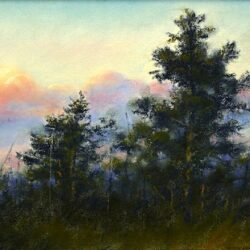 Pines Against the Sky is an original 10 x 13.5 inches pastel landscape painting © 2015 Marv Espe. Evergreen pine trees in evening light with colorful clouds in the distant sky.