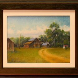 Shager's Sheds is an original 8 x 10 inches pastel figurative landscape painting © 2015 Marv Espe. Farm yard with driveway and several buildings near trees. Framed.