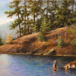 Boundary Waters Bathing is an original 8.25 x 11 inches pastel landscape painting © 2015 Marv Espe. Kids swimming in the water near the shore of a forest lake.
