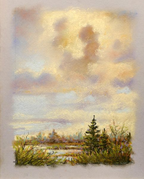 Clouds Above the Swamp is an original 9 x 7 inches pastel landscape painting © 2015 Marv Espe. Interesting clouds over s watery swamp.