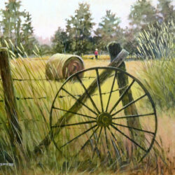 Hayfield is an original 11 x 14 inches acrylic landscape painting © 2015 Marv Espe. A hayfield with a wagon wheel in the foreground and a boy an his dog in the distance.