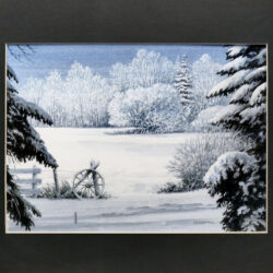 Snowfall Aftermath is an original 8 x 11 inches water color landscape painting © 2016 Marv Espe. Snow covered winter scene of a tree lined field, fence with wagon wheel.