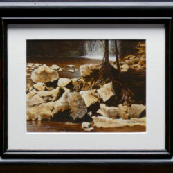 Pools Among Rocks is an original 5.5 x 7.25 inches water color landscape painting © 2016 Marv Espe. A river with many boulders and a waterfall.