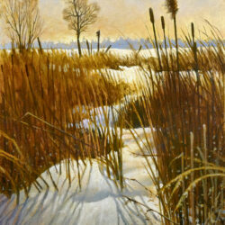 Snowy Stream is an original 5.25 x 8.25 inches acrylic landscape painting © 2016 Marv Espe. A stream through a marsh is covered in winter snow.