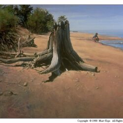 Sand Sunshine and Solitude is an original 16 x 20 inches acrylics landscape painting © 1988 Marv Espe. A quiet beach scene with sand, driftwood and a person near the water.