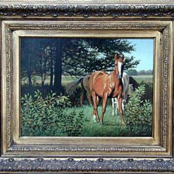 Horse With White Face is an original 12 x 16 inches acrylics animal painting © 2000 Marv Espe. A brown horse with a white face in the pasture with other horses and trees.