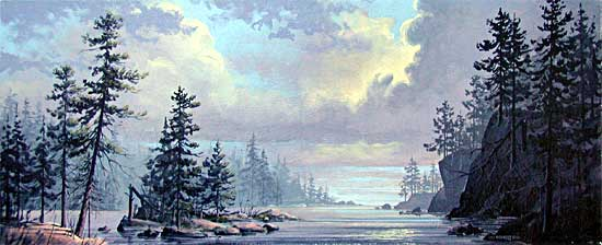 Creation Splendor is an original 10 x 24 inches acrylics landscape painting © 2000 Marv Espe. Beautiful lake scene with water, trees and clouds.