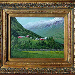 Quiet Community (Stalheim Norway) is an original 11 x 14 inches acrylics figurative landscape painting © 2002 Marv Espe. Beautiful mountain farm scene at Stalheim Norway. Framed