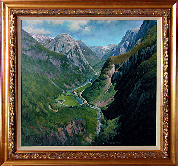 Stalheim Norway is an original 20 x 19 inches acrylics landscape painting © 2002 Marv Espe. The beautiful Nærøydalen valley as seen from Stalheim Norway, with mountains and a river. Framed