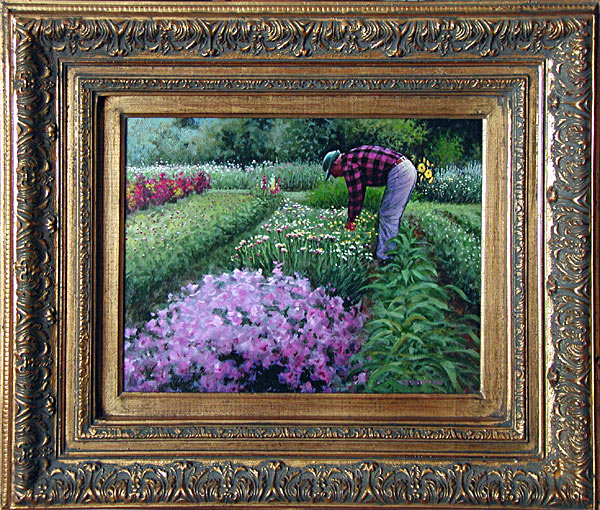 The Gardener is an original 11 x 14 inches acrylics figure and landscape painting © 2000 Marv Espe. The Gardener bends over some flowers in a lush green garden.