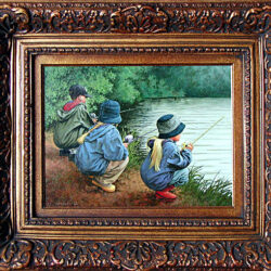 Patient Pursuit is an original 12 x 16 inches acrylics figure painting © 2001 Marv Espe. Three children in hats and raincoats are crouched by a river, patiently holding their fishing rods.