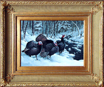 Turkey Talk is an original 12 x 16 inches acrylics wildlife painting © 2000 Marv Espe. Three wild turkeys stand in the snow by a brook in a winter scene. SOLD