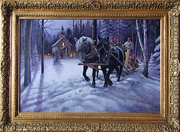 Sleigh Ride at Penturen is an original 24 x 36 inches acrylics figure and landscape painting © 2001 Marv Espe. People enjoy a Sleigh Ride through the forest near a church in the winter snow.