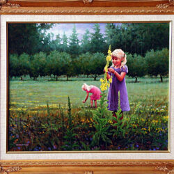 Flowers in the Orchard is an original 16 x 20 inches acrylics figure painting © 2001 Marv Espe. Two young blond girls enjoy the Flowers in the Orchard.