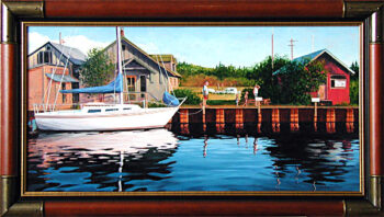 Sunset at Cornucopia is an original 12 x 23.75 inches acrylics figurative painting © 1998 Marv Espe. A docked sail boat near people and buildings in Cornucopia Wisconsin at sunset. SOLD