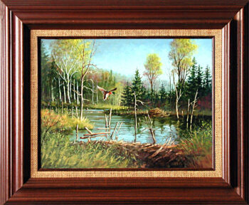 Beaver Pond is an original 16 x 20 inches acrylics landscape painting © 1998 Marv Espe. A Beaver Pond with a mallard duck about to land on the water in the forest.