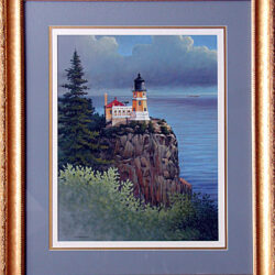 Stalwart Sentinel - Split Rock Lighthouse is an original 20 x 24 inches mixed media figurative landscape painting © 1999 Marv Espe. Split Rock Lighthouse on the north shore of Lake Superior in Minnesota.
