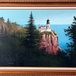 The Lighthouse is an original 30 x 22 inches acrylics figurative landscape painting © 1997 Marv Espe. The Split Rock Lighthouse on the north shore of Lake Superior in Minnesota.