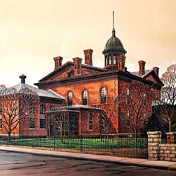 Stillwater Courthouse is an original 15 1/2 x 11 inches mixed media figurative painting © 2002 Marv Espe. The Courthouse in Stillwater, Minnesota.