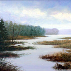 Flowage Channel is an original 8 x 10 inches acrylics landscape painting © 1998 Marv Espe. A river channel flowing toward a lake in the forest.