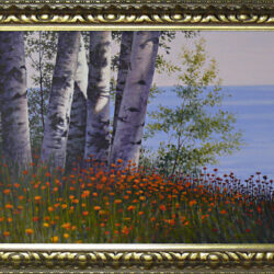 Robed in Flowers is an original 17 x 23 inches acrylics landscape painting © 2011 Marv Espe. The ground near a lake is Robed in Flowers near birch tree trunks.