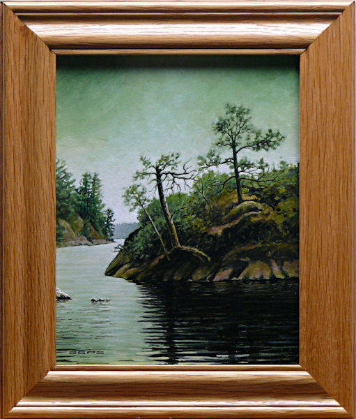 All Things Green is an original 10 x 8 inches acrylics landscape painting © 2014 Marv Espe. A green tinted sky is reflected in thid forest lake water, making All Things Green.
