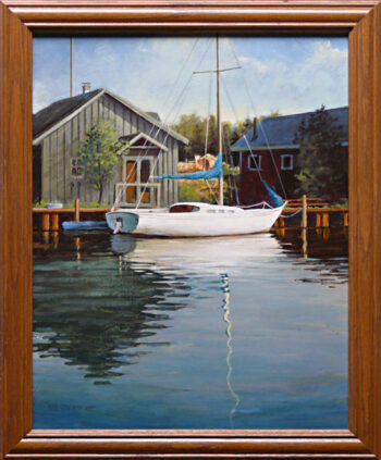 Reflections is an original 15 x 12 inches acrylics figurative painting © 2014 Marv Espe. .Reflections of a docked sail boat and buildings in Cornucopia Wisconsin are seen in the water