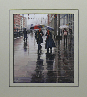 Walkin' in the Rain is an original 10 x 8.5 inches mixed media figure painting © 2014 Marv Espe. City scene with people with umbrellas Walking in the Rain on the sidewalk.